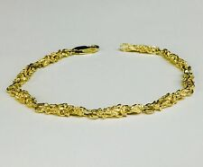 "10kt Solid Yellow Gold Handmade NUGGET link chain/Bracelet 8"" 9 grams 4.5 MM"