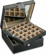 Glenor Co Classic 50 Slot Jewelry Box with Large Mirror - Black