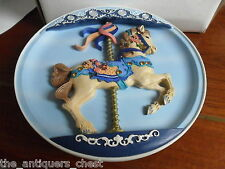"Pretty Prancer carousel horse musical plate ""Blue Danube"" Rhodes Studio, 9""[am]"
