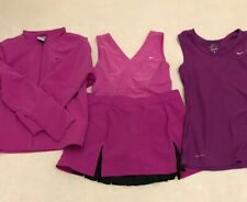 NIKE Tennis Skirt; 2 Tops; Jacket Set Pink Fuchsia size S.