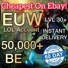 League of Legends Account EUW LOL Smurf 50,000+ BE IP Level 30 Unranked