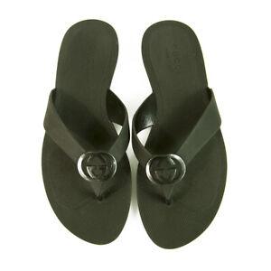 GUCCI Black Rubber Interlocking G Thong Sandals Flip Flops size 10