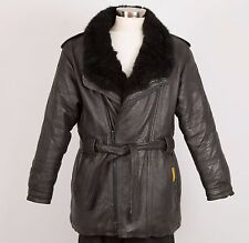 DOUBLE GOOSE COUNTRY Men's Winter Leather Down Jacket Size XL Black Fur Collar