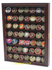 Military Challenge Coin Poker Chip Display Case Shadow Box Cabinet, COIN56-MAH
