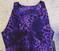 Women's CHAUS Long Halter Dress Size M Purple Animal Print Dress