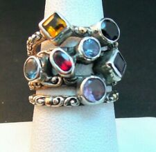 NEW BALI COUTURE STERLING SILVER/18K FOUR ROW SPLIT SHANK BALI  RING SIZE 7