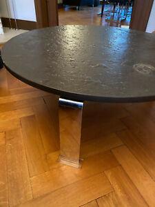 Draenert Original Designer Couchtisch Ölschiefer Chrom  Dm. 120 cm Modell 1024
