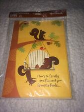Hallmark Thanksgiving Holiday Greeting Cards - Set of 6 - Fall Squirrel Family