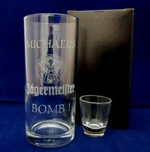 PERSONALISED JAGER BOMB GLASS SET ANY NAME MESSAGE GIFT BOXED JAGER BOMB GLASS