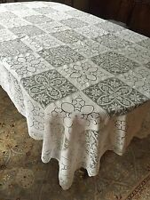 """Vintage Banquet Italian Embroidered Filet Lace Tablecloth Filet Lace Trim 110"""""""