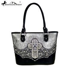 Montana West Handbag Spiritual CrossCollection Tote Bag Purse Grey