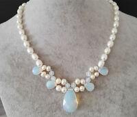 Süßwasserperle , Reisperle , Perlenkette , Opal Perlenkette , Opal Anhänger