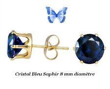 Boucles d'Oreille Puces Cristal Bleu Saphir Or Jaune Laminé*