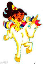 "4.5"" Dora nick jr princess unicorn cloud fabric applique iron on character"