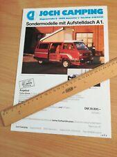 original Prospektblatt Volkswagen VW T3 Joch Camping ähnlich Westfalia