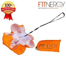 "RUNNING Resistance PARACHUTE By F1TNERGY Durable Top Quality 56"" ORANGE Speed"