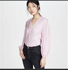 NWT JOIE Cadmar Stripe Lavender Blouse Fleur D-Isle Womens Size Medium
