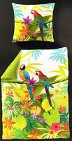 Bierbaum Digitaldruck Bettwäsche Mako Satin - Papageien - 135 x 200 cm - Exotic