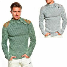Unifarbene Herren-Pullover mit grober Strickart
