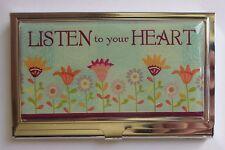 j Listen to your Heart flower garden METAL ID HOLDER business credit card wallet