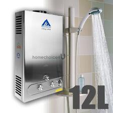 Chauffe-Eau Instantané 12L/min à Gaz LPG Propane Water Heater avec Douche En Kit