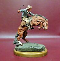 "Monfort Original 8.5"" Collectible Hydrostone Western Sculpture Cowboy on Horse"