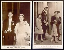 George VI and Family: Two Vintage Real Photo Postcards. Free UK Post