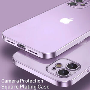 For iPhone 11 12 Pro Max/12 Mini XR XS X Shockproof Plating Silicone Case Cover