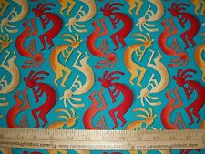 Cotton Fabric Michael Miller Kokopelli Stripe on Teal music Native American BTY