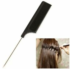 FD4731 Fine-tooth Metal Pin Hairdressing Hair Style Rat Tail Comb Black 20CM