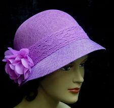 Womens Linen Blend Lavender Cloche 1920s flapper gatsby style adjustable size