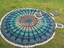 Peacock Mandala Roundie Bohemian Round Tapestry Beach Throw Tablecloth Kit 82""