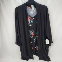 Time and Tru Women 2 Piece Black Pink Floral Knit Tank Cardigan L XL 2XL 3XL