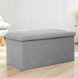 UK Extra Large Linen Folding Storage Ottoman Pouffe Seat Foot Stool Storage Box