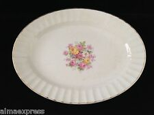 """Edwin Knowles China KNO246 246 46 Rose Gold Fluted - 13-1/2"""" SERVING PLATTER"""