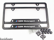 2x BMW Motorsport Stainless Steel License Plate Frame w Screws Tag For US Canada