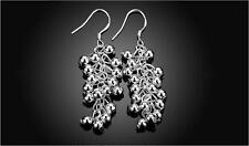 Shiny 925 Sterling Silver PL Bunch of Grape Bead Drop/Dangle Hook Earrings Gift