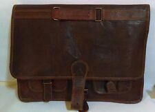 Men's Big Synthetic Leather Messenger/Shoulder Laptop Bag Brown