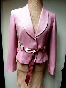 TAHARI Arthur S Levine Jacket Top Blazer Herringbone Rose Pink Ribbon 6P EUC
