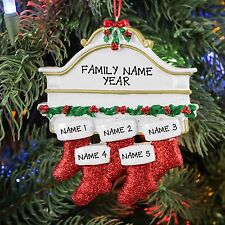 FIREPLACE MANTLE STOCKING FAMILY OF 5 PERSONALIZED CHRISTMAS TREE ORNAMENT 2016