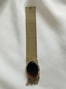 Vintage Whiting & Davis Co. Mesh Bags Brown Stone Bracelet, Antique, Signed