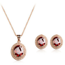 18K GOLD PLATED & GENUINE CUBIC ZIRCONIA RUBY RED NECKLACE & EARRING SET
