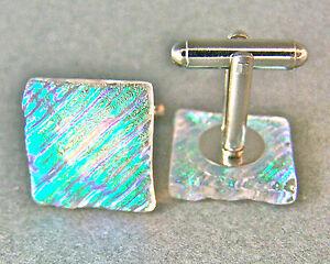 DICHROIC GLASS Cuff Links Verdigris CLEAR Green Striped Ripple Mens Formal Wear