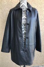 Eddie Bauer Women's 4 Button Leather Jacket BLACK Tall Medium THINSULATE