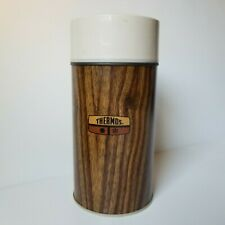 """Vintage King Seeley Thermos 10"""" Brown Wood Grain Screw Top Lid Stopper USA 1970s"""