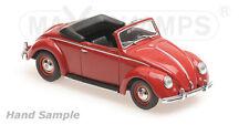 wonderful modelcar VOLKSWAGEN VW HEBMÜLLER CONVERTIBLE 1950 - red  - 1/43