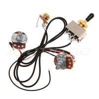 1/2/5/10 Sets Two Guitar Pickup Wiring Harness Gold 500K Toggle Switch Black
