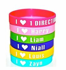 One Direction - 6 x Gummy Wristbands - Louis, Zayn, Liam, Niall, Harry & I Love