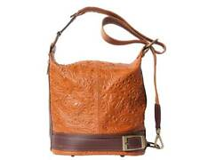 Dark Tan/Brown Leather Bucket Backpack Embossed Purse Made in Italy