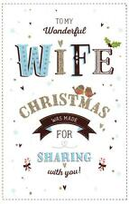Wonderful Wife Christmas Greeting Card Lovely Glitter Embellished Cards